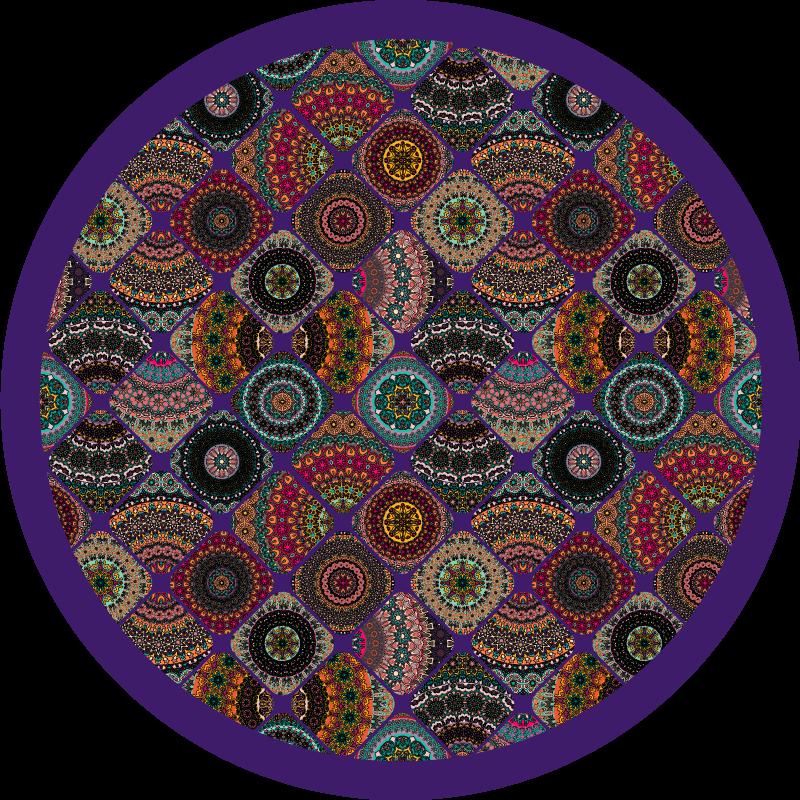 TenStickers. Vintage kolorowy dywan winylowy. Dywan winylowy z vintage kolorową patchworkową ilustracją, który zmieni atmosferę Twojego salonu, sypialni, jadalni lub innego pomieszczenia!