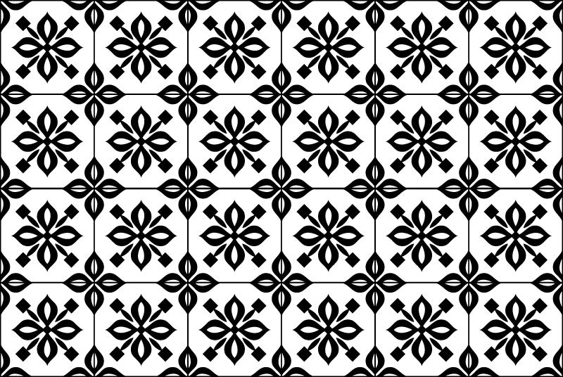 TenStickers. 黑色和白色曼陀罗瓷砖垫. 用这个令人惊叹的矩形黄麻地毯黑白曼荼罗装饰您的房子!不要再等待了,立即订购!