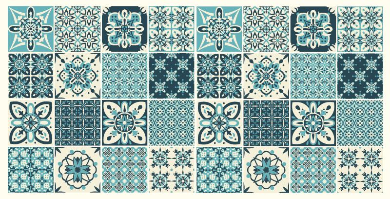 TenVinilo. Alfombras vinilo baño azulejos azules. Alfombra vinilo baño con formas multicolores para brindar un aspecto clásico de baldosas y llenar tu casa de color de forma original ¡Elige medidas!