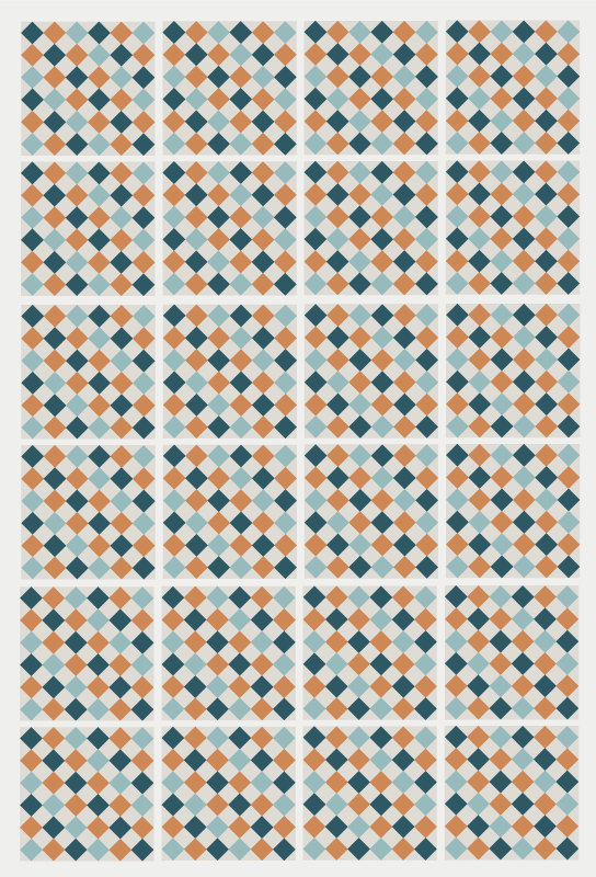 TenVinilo. Alfombras vinílicas de azulejos de colores. Este diseño se basa en pequeños cuadrados coloridos en azul claro, naranja, azul oscuro y gris, creando juntos un hermoso mosaico. ¡compra ahora!