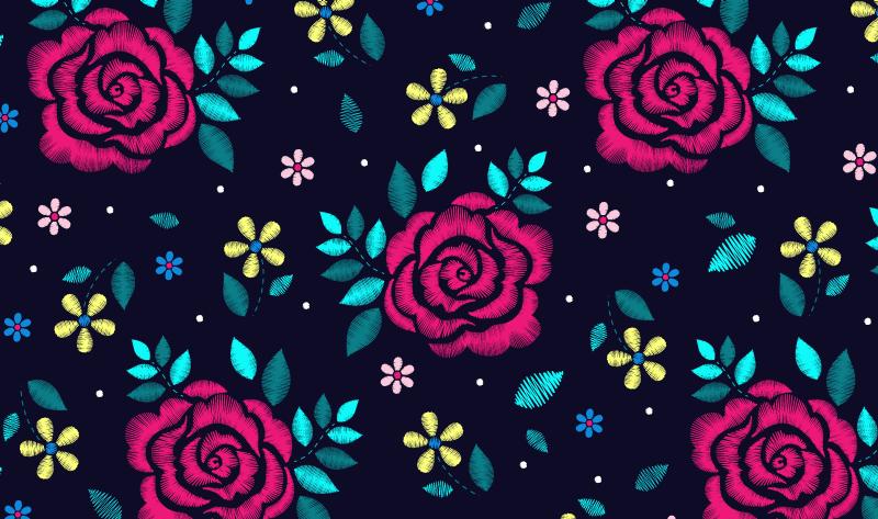 TenVinilo. Alfombra vinilo vintage rosas oscuras. Alfombra vinilo vintage fondo oscuro y está llena de grandes rosas con pequeñas hojas verdes. Disponible en muchos tamaños ¡Envío exprés!