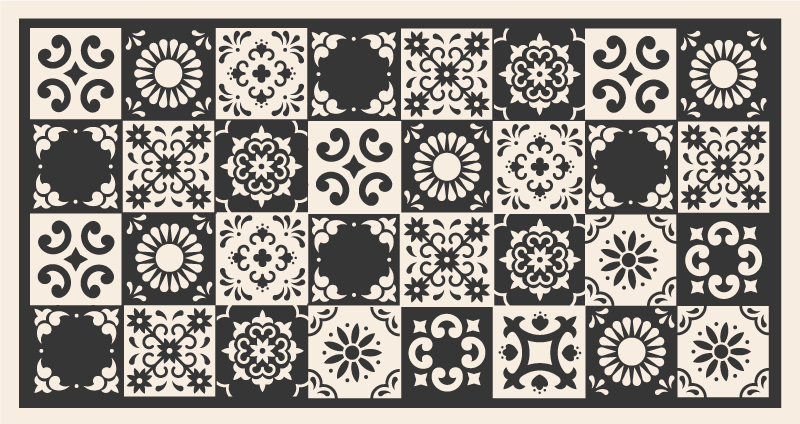 TenVinilo. Alfombras vinilo azulejos gris y negros. Esta hermosa alfombra vinilo baño tiene símbolos españoles en efecto azulejo por todas partes y será ideal para tu hogar ¡Envío exprés!