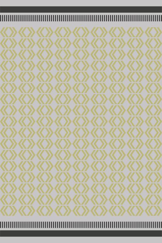 TenVinilo. Alfombra vinilo nórdica amarilla geométrica. Esta alfombra vinilo nórdica se basa en un fondo blanco con pequeñas formas amarillas por todas partes con dos líneas en los bordes laterales.