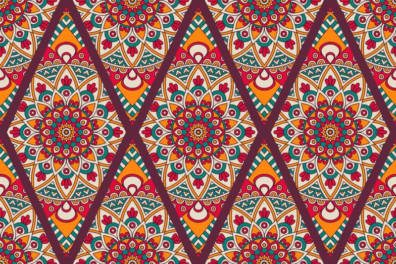 TenVinilo. Alfombra vinilo cocina estilo caucásico. ¡Esta bonita alfombra vinilo cocina seguramente traerá mucha más luz a tu habitación! Diseño étnico caucásico de tonos cálidos ¡Envío exprés!