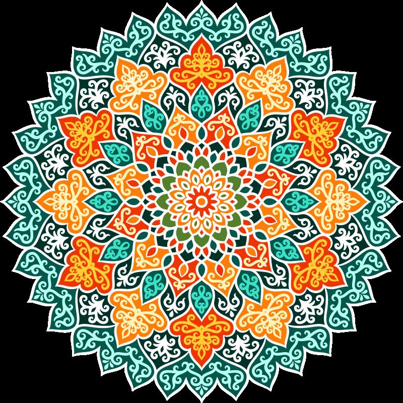 TenVinilo. Alfombra vinilo cocina mandala multicolor. Esta alfombra vinilo cocina mandala está llena de colores como el azul, el amarillo y el blanco para crear un patrón de mandala ¡Envío exprés!