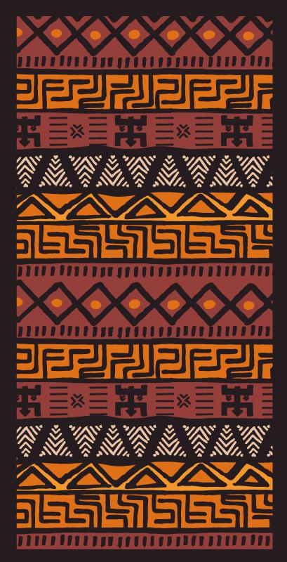 TenVinilo. Alfombra vinilo étnica estilo africano. Elegante y contemporánea, esta alfombra vinilo étnica africana en colores naranja, rojo y estampado africano dará calidez a tu interior.
