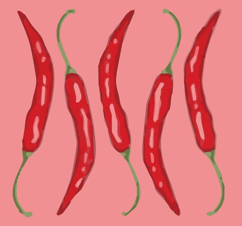 TenStickers. Dywan winylowy w kuchni Pięć papryczek chilli. Ta zabawna czerwona płytka kuchenna z pięcioma chili będzie idealnie pasować do Twojej kuchni. Co za dobry pomysł, prawda? Dostawa do domu!