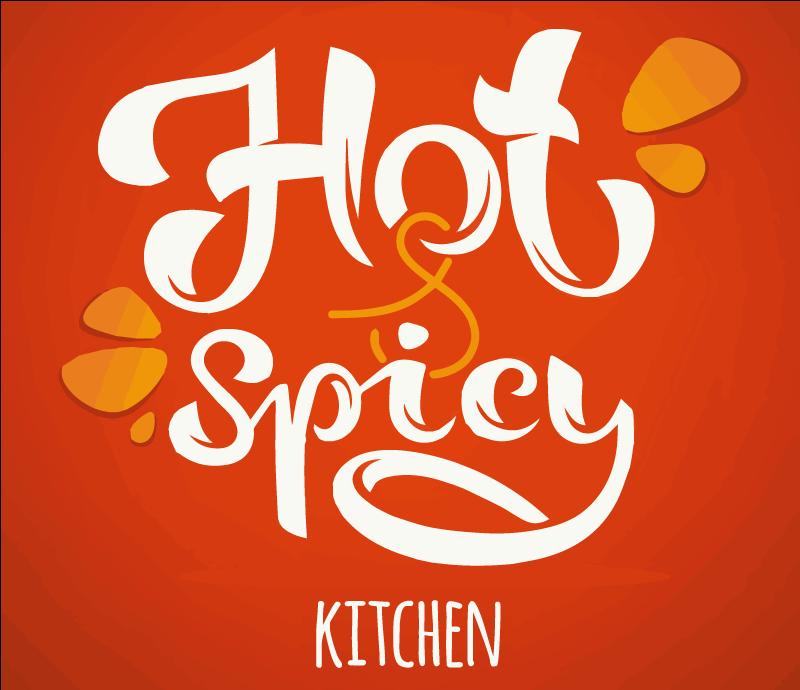 """TenVinilo. Alfombra vinilo cocina caliente y picante. Esta moderna alfombra vinilo cocina se basa en un fondo rojo y naranja con un gran texto blanco """"cocina caliente y picante"""" ¡Envío exprés!"""