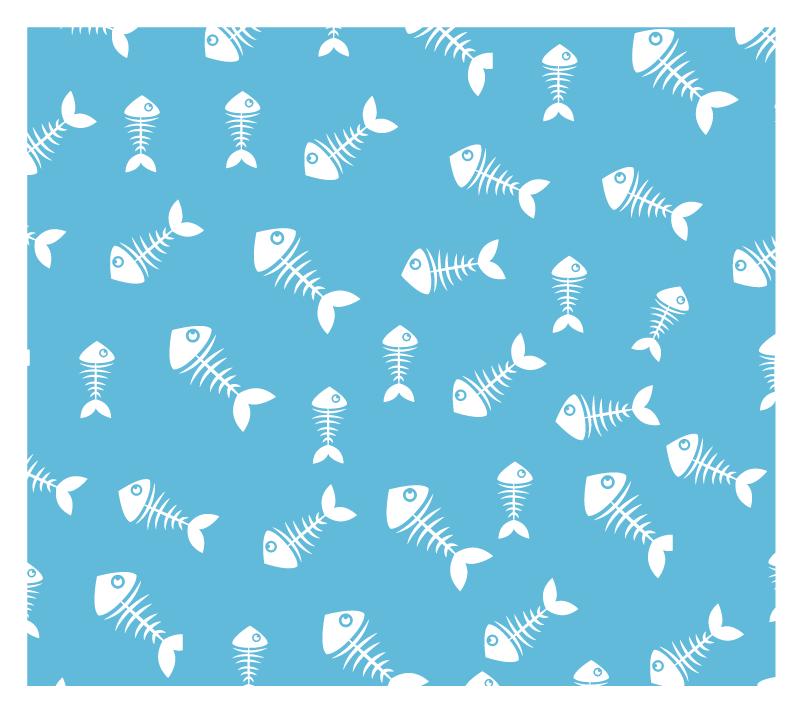 TenVinilo. Alfombra vinilo cocina espinas de pescado. Esta increíble alfombra vinilo cocina está llena de espinas de pescado en color blanco sobre un fondo azul marino ¡Elige tus medidas!