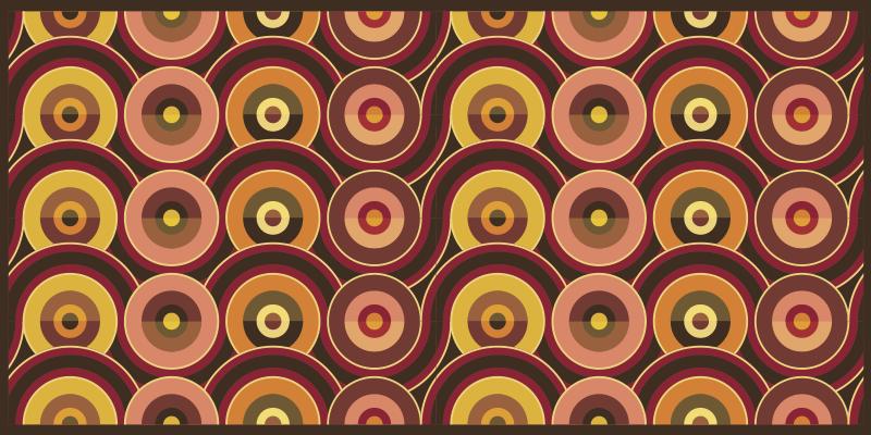 TenStickers. Tapete retro com padrões de círculos antigos dos anos 70. Combinando estética e praticidade, este tapete vintage representa a escolha mais adequada para trazer personalidade à decoração de interiores e exteriores.