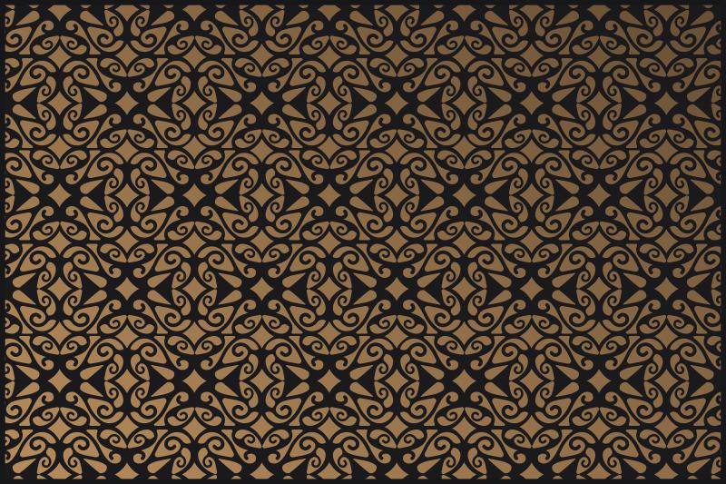 TenStickers. 金色复古图案复古地毯. 从第一刻起您就会喜欢的客厅乙烯基地板复古!立即购买,因为只需单击一下即可