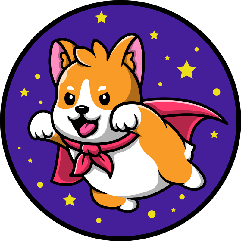 TenStickers. Dog cartoon animal mat. Animal rug with the illustration of a puppy dog with a red superhero cape, with a blue background and stars, perfect to give a tender touch.