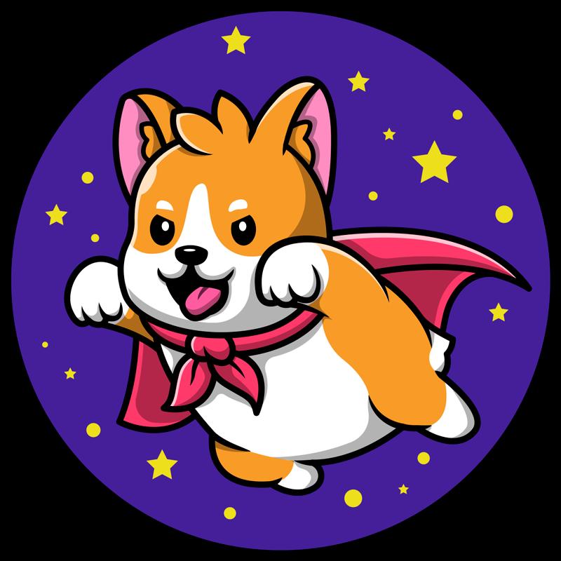 TenVinilo. Alfombras vinílicas de animales perrito volador. Alfombra de vinilo cachorro con capa roja de superhéroe, con fondo azul y estrellas, perfecta para dar un toque tierno. !Entregamos a domicilio!