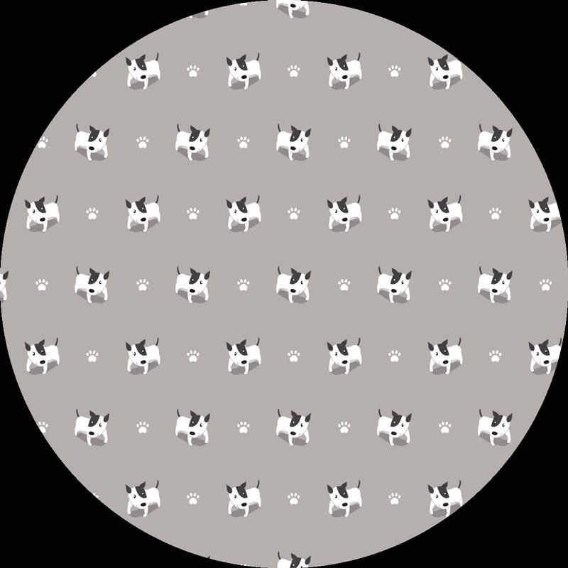 TenVinilo. Alfombras vinílicas de animales Patrón de perro. Alfombra vinílica circular con la ilustración de un estampado de perritos en blanco y negro, perfecta para dar un toque tierno. Entregamos a domicilio
