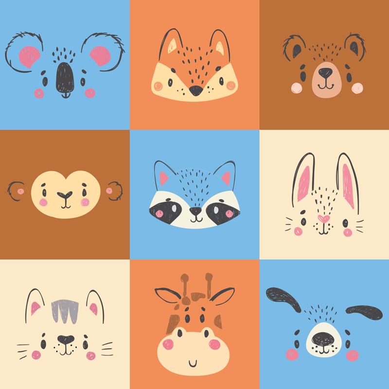 TenStickers. Dywan winylowy z nadrukiem zwierząt domowych. Dywan winylowy z różnymi obrazkami w różnych kolorach z ilustracjami różnych zwierząt, takich jak koty, króliki, niedźwiedzie. Wbierz rozmiar!