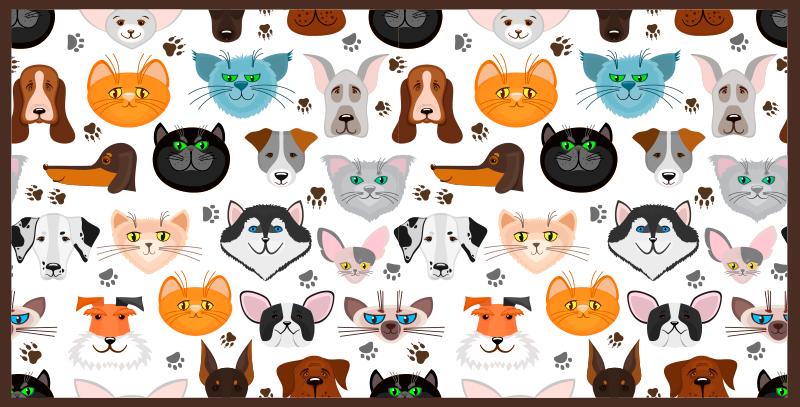 TenStickers. 狗和猫动物垫. 乙烯基地毯,上面有几只猫和狗的脸的插图,在白色背景上,非常适合您装饰房间或任何其他空间