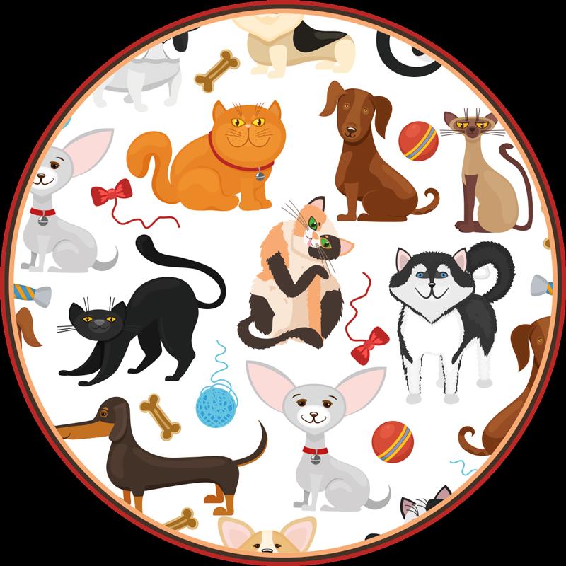 TenStickers. Dywan winylowy ze zwierzętami. Dywan winylowy z ilustracją wielu psów i kotów różnych rozmiarów i ras, kolorów, na białym tle, idealny do Twojego domu. Dostawa do domu gwarantowana!