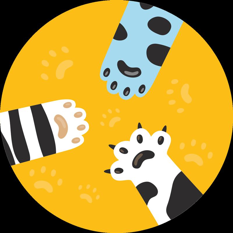 TenStickers. Tapete animal com três patas de gato. Como seus filhos se sentirão por ter um tapete de animal com três patas de gato? O que você está esperando? Compre agora online! Descontos disponíveis.