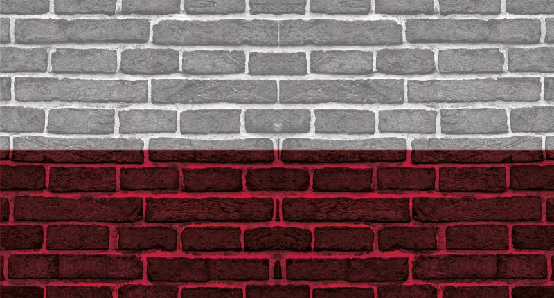 TenStickers. Polska flaga na cegłach dywanik winylowy . Nadaj swojej przestrzeni oszałamiający wygląd dzięki naszej oryginalnej polskiej fladze na teksturowanym dywaniku winylowym z cegieł. wybierz rozmiar.