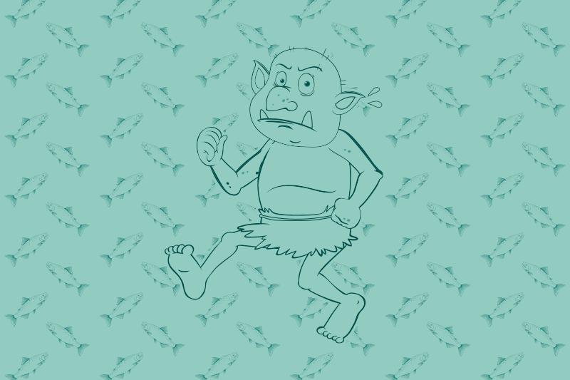 TenVinilo. Alfombra vinílica étnica Troll noruego con salmón. ¡Todos tus amigos y familiares estarán tan celosos de tu nueva pieza de decoración con esta elegante alfombra vinílica dormitorio! Cómpralo ahora!