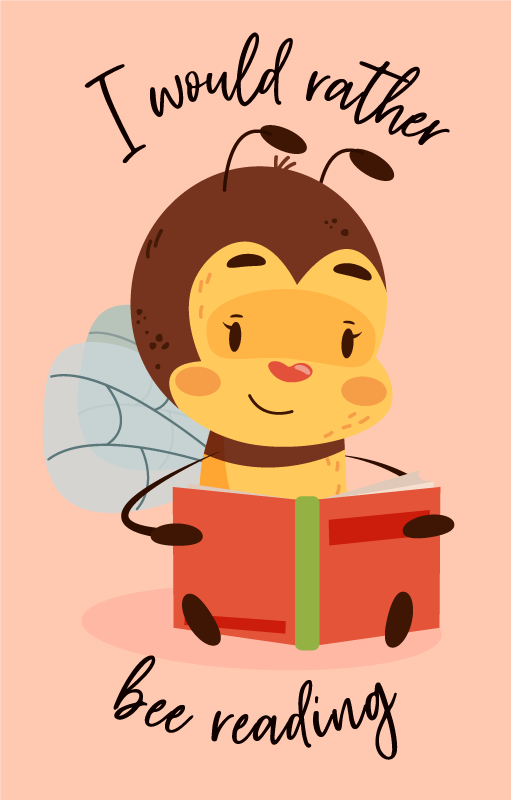 TenStickers. I would rather bee reading bespoke rugs. A floor carpet featured with design of a bee reading a book and hosting the text that says '' I would rather be reading''.