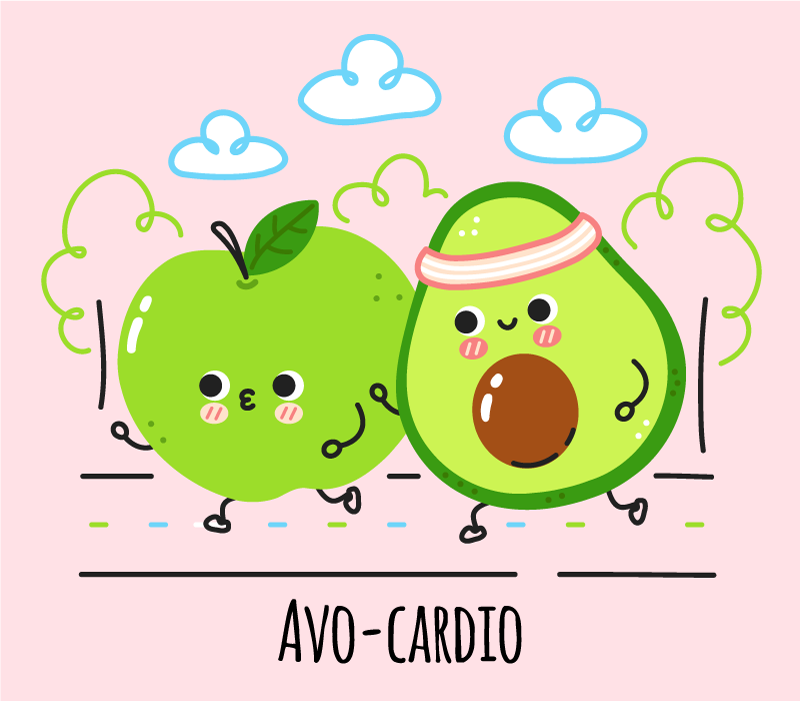 TenStickers. Avo-cardio bespoke rugs. An original vinyl floor carpet for kitchen space. The carpet is featured with lovely design of avocado with other design illustrations.