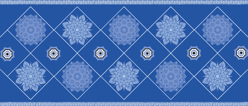 TenStickers. Blue mandalas patchwork tile mat. Lively up any space with this blue mandalas patchwork tile carpet. Perfect for any space in a house and it can be placed on offices space, shops, etc.