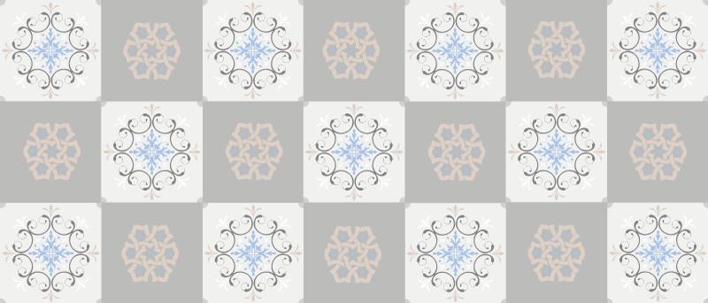 TenVinilo. Alfombra vinilo azulejos grises de flores. Magnífica alfombra vinilo azulejos grises de flores para que decores tu cocina o tu baño. Elige las medidas ¡Envío exprés a domicilio!