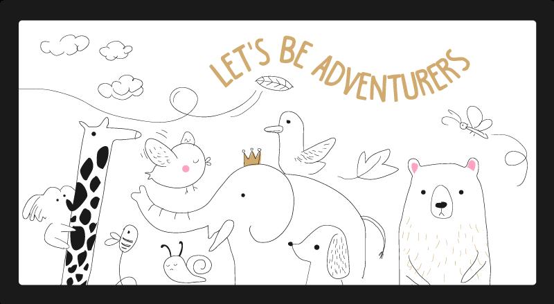 TenVinilo. Alfombra vinilo infantil animales aventureros. ¡Dale a tus hijos el regalo perfecto con esta increíble alfombra vinilo infantil de animales aventureros de estilo nórdico! ¡Elige medidas!