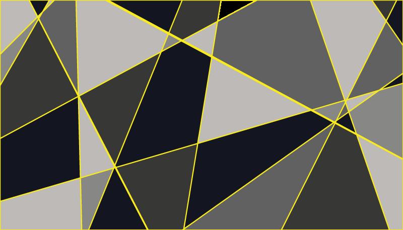 TenVinilo. Alfombra vinilo nórdica patrón triángulos. La moderna alfombra vinilo nórdica se basa en unas formas geométricas en gris y negro con contorno amarillo ¡Envío exprés a domicilio!