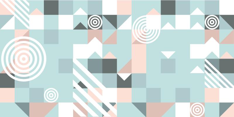 TenVinilo. Alfombra vinilo nórdica formas pastel. Esta moderna alfombra vinilo nórdica se basa en un fondo azul claro con pequeños triángulos y cuadrados en diferentes tonos de azul ¡Envío exprés!