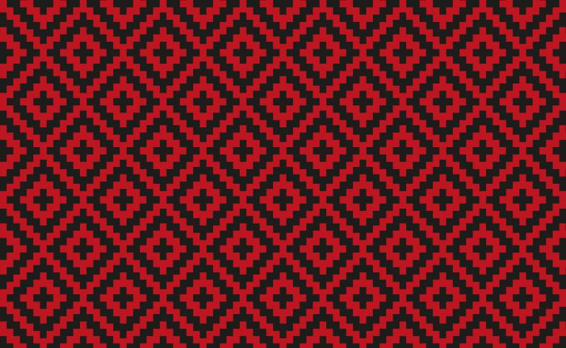 TenVinilo. Alfombra vinílica efecto mosaico de cuadros. Esta alfombra de vinilo azulejos está llena de cuadrados de color rojo oscuro y negro.  ¡Hecha de materiales antideslizantes y antialérgicos!