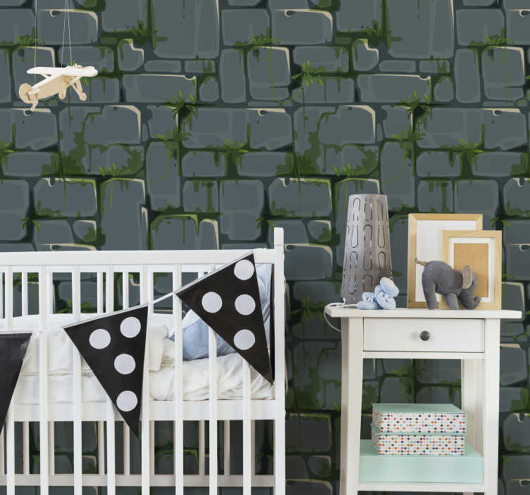 TenStickers. Stone Wall 3D Wallpaper. This 3d  wallpaper is an original and rustic decoration ideal for your kids bedroom. Bring joy and originality to your kids walls!