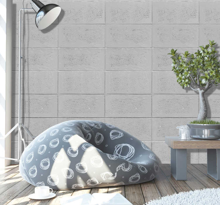 TenStickers. Stone Dream Pattern Wallpaper. Stone dream textured wallpaper. Give your room a new facet, with this fantastic pattern of rectangles imitating concrete in shades of light gray.