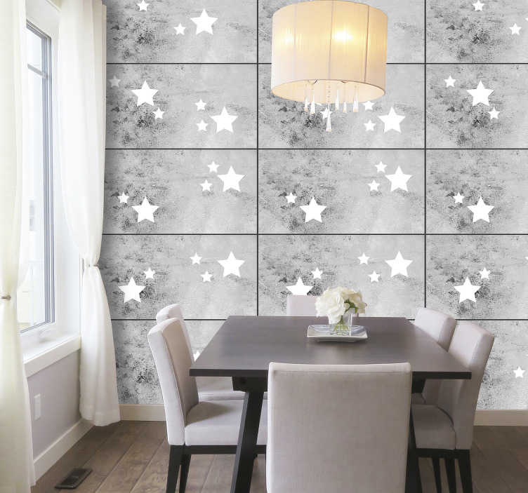 TenStickers. Stars on Concrete Star Wallpaper. Make your living room the brightest room in the house with this wonderful concrete style wallpaper. High quality product.