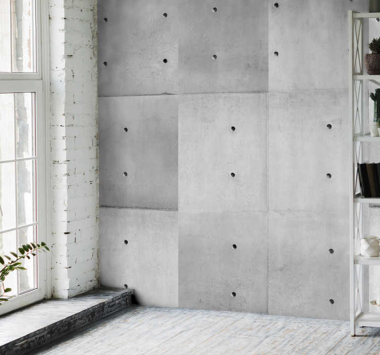 "TenStickers. The Charm of Concrete Textured Wallpaper. Concrete vinyl wallpaper with a ""dirty"" white pattern composed of concrete imitation rectangles arranged vertically, perfect for your dining room."