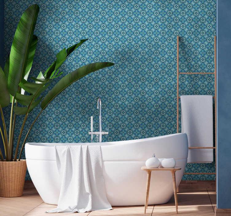 TenStickers. Blå mønster badeværelse tapet. Den høje kvalitet på dette badeværelsestapet giver dig mulighed for at omdanne dette rum til et magisk sted i mange år, da de er et meget holdbart produkt.