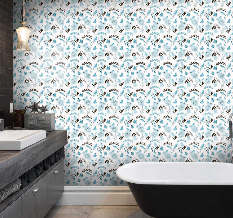 TenStickers. Bathroom wallpaper with rabbits. Bathroom wallpaper is a very innovative way to add a finishing touch to this room quickly and cheaply. The longer you look, the more you see.