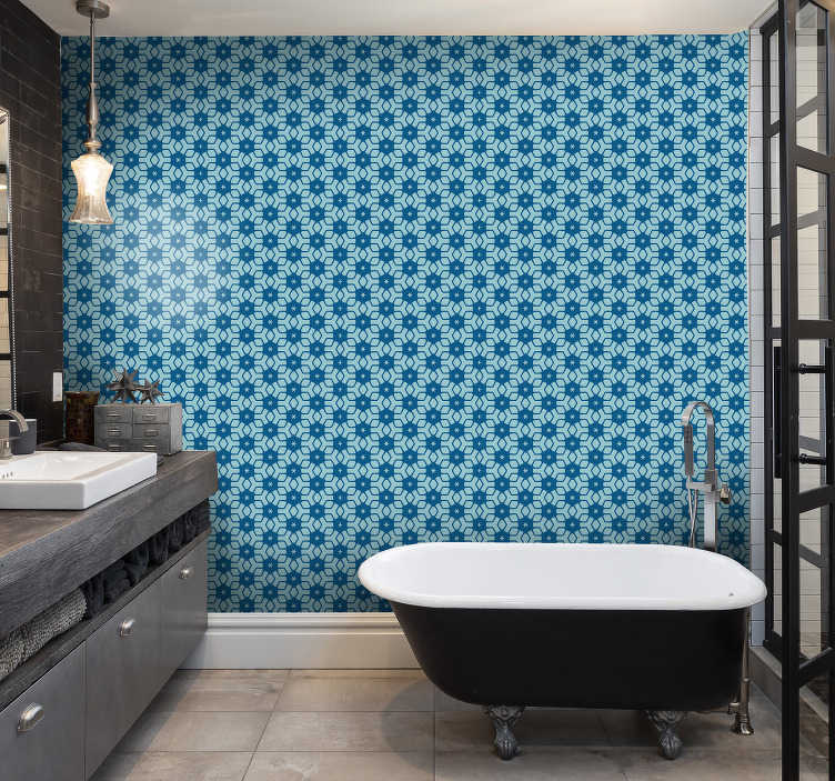 TenStickers. Blue tiles wallpaper bathroom. Recently, bathroom wallpapers are definitely one of the top choices for decoration of this room. Order them now with all tthe equipment you need.