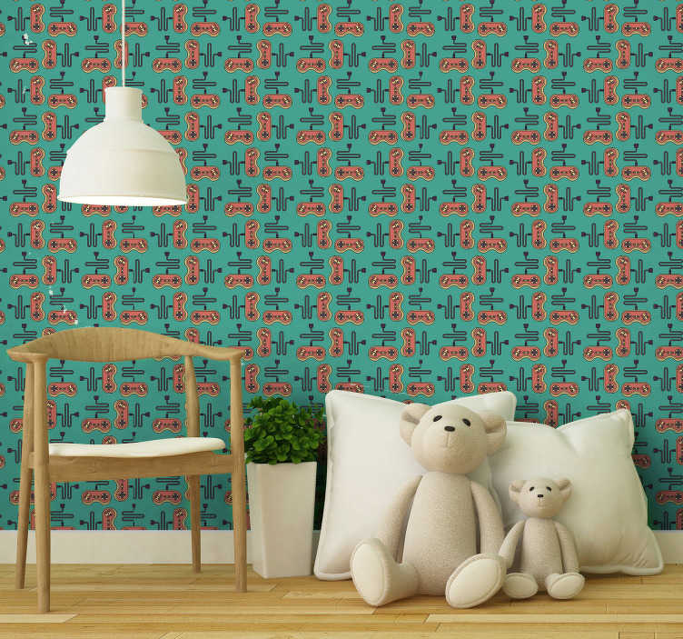 TenStickers. Children wallpaper with videogames. This kid room walllpaper is in very interesting bright colours, blue, red and orange, and is a guarantee to make your kids smile.