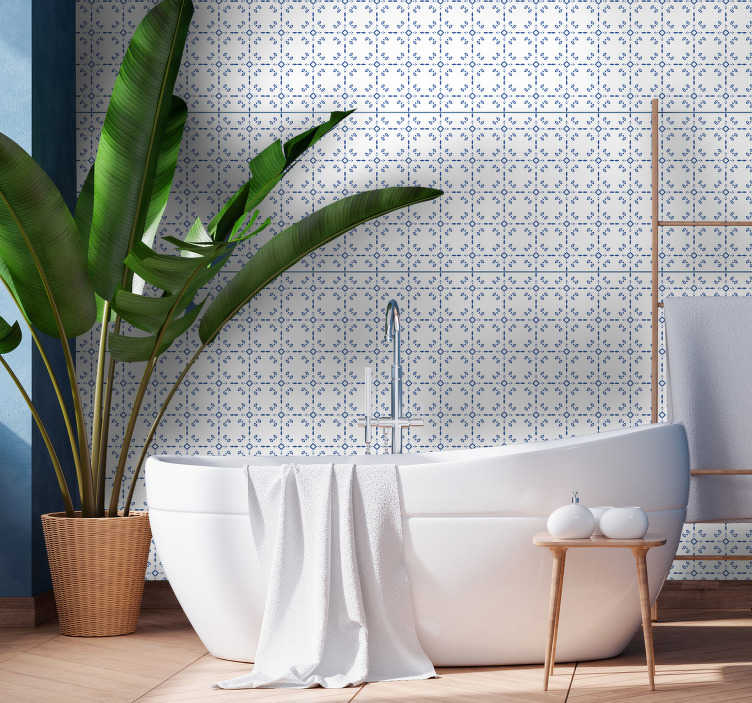 TenStickers. Classic bathroom tile wallpaper. Tile effect wallpaper that is a perfect alternative to the old-fashion way. Blue diamonds, arrows and more are a perfect way to upgrade this room.