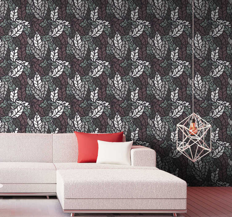 TenStickers. Classic wallpaper with leaves. There does not exist a better creation than this stunning nature wallpaper. Those leaves in white, burgundy and green colours create a magical space.
