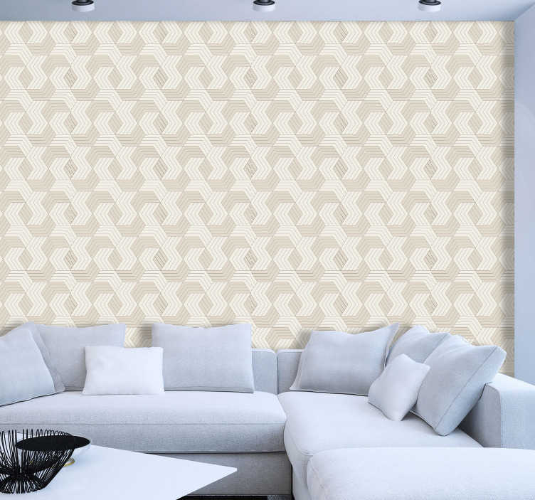 TenStickers. Geometric wallpaper with cubes. Square pattern wallpaper is a classical and modern choice that will transform your interiors into chic places full of elegance and style.
