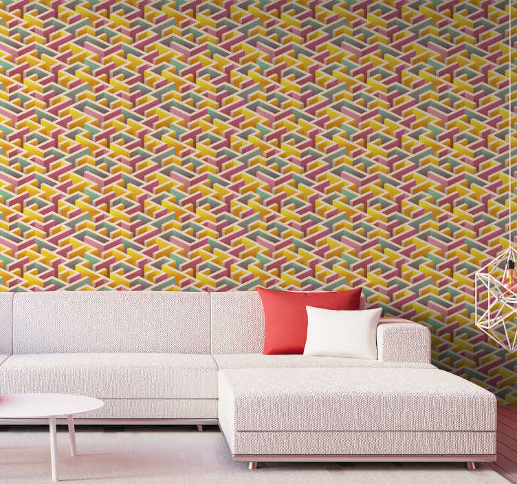 TenStickers. Geometric wallpaper with labyrinth. Do not get lost in this abstract wallpaper with the colourful labirynth. Pink, blue and yellow are a perfect combination so order it now.