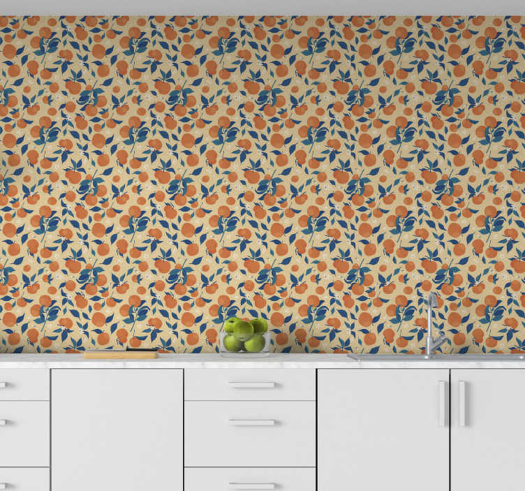 TenStickers. Kitchen wallpaper with oranges. Kitchen vinyl wallpaper is a very practical choice that will allow you create happy and positive vibe in this very important room. Order it online!