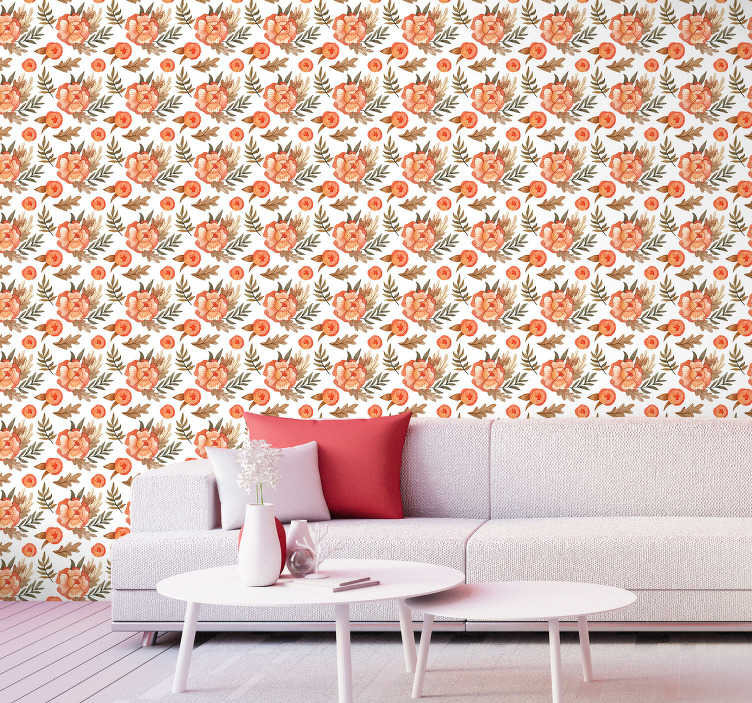 TenStickers. Little flowers wallpaper. Bring some nature to your house with this spectacular design of flower wallpaper. It consists of orange petals and brown leaves.