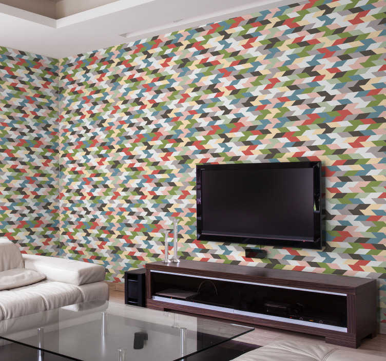 TenStickers. Modern geometric wallpaper. You do not need anything else in your life when you have this modern wallpaper in your living room. This will make your rooms look bigger.