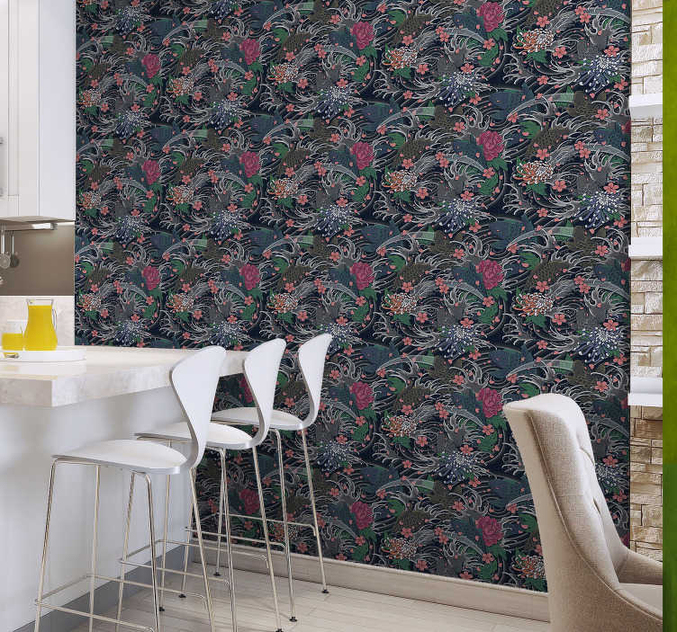 TenStickers. Kitchen Wallpaper Oriental Style. Kitchen wallpaper is a perfect way to decorate this important place in your home. It is made out of high quality material that proved to be durable.
