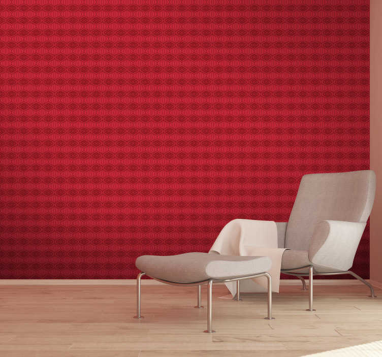 TenStickers. Red oriental pattern wallpaper. This is the product created specifically for your living room. Show your real personality through this red wallpaper and change your rooms.