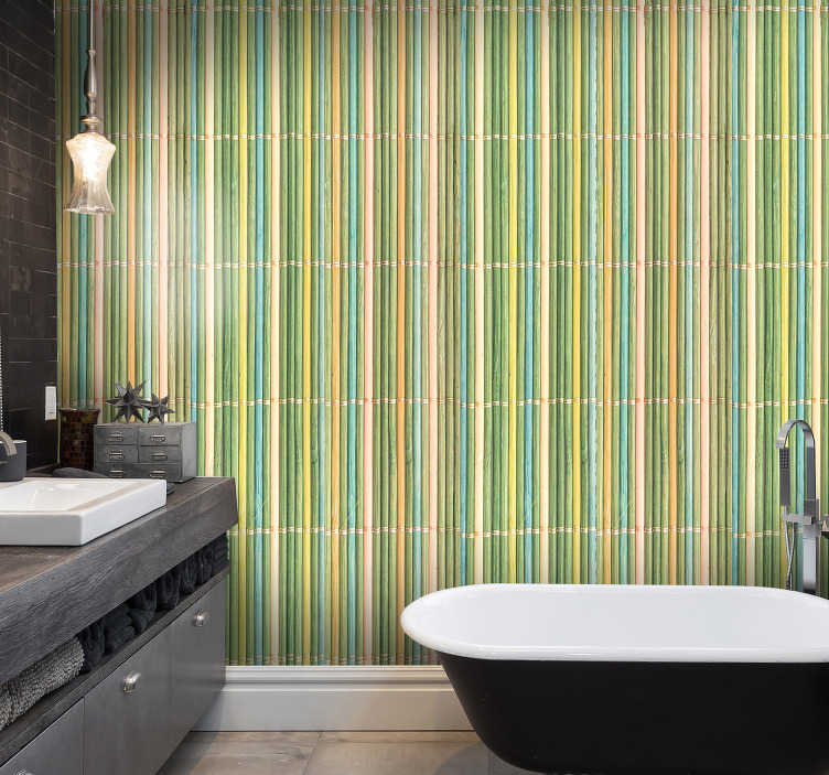 TenStickers. Textured Wallpaper thin bamboo. What can be better than  this wood texture wallpaper for a bathroom? Probalby there is no such a thing that has the same amazing qualities.